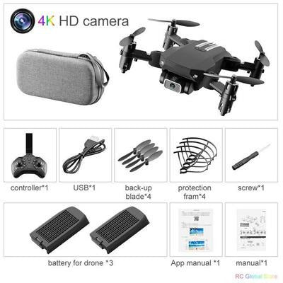 Foldable RC Drone UAV Quadcopter WiFi FPV with 4K HD Camera Aerial Photography VSthingymajig 4K Black 2B Bag