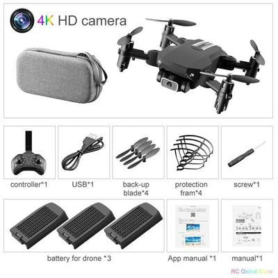 Foldable RC Drone UAV Quadcopter WiFi FPV with 4K HD Camera Aerial Photography VSthingymajig 4K Black 3B Bag