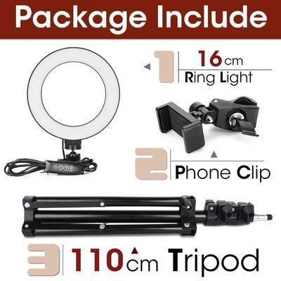 LED Ring Light Photography Lighting Selfie Lamp USB Dimmable With Tripod VSthingymajig 16cm and 110cmTripod