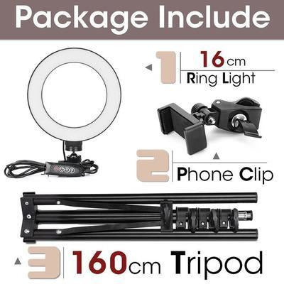 LED Ring Light Photography Lighting Selfie Lamp USB Dimmable With Tripod VSthingymajig 16cm and 160cmTripod