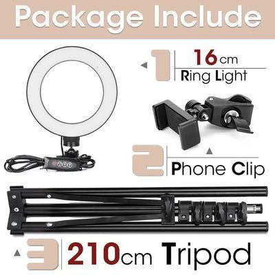 LED Ring Light Photography Lighting Selfie Lamp USB Dimmable With Tripod VSthingymajig 16cm and 210cmTripod