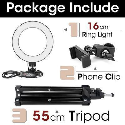 LED Ring Light Photography Lighting Selfie Lamp USB Dimmable With Tripod VSthingymajig 16cm and 55cmTripod