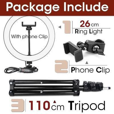 LED Ring Light Photography Lighting Selfie Lamp USB Dimmable With Tripod VSthingymajig 26cm and 110cmTripod