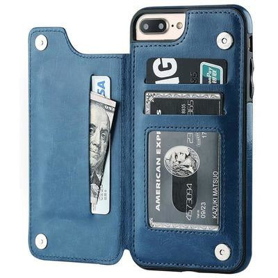 Luxury Slim Fit Premium Leather Cover For iPhone's VSthingymajig for iPhone 5s SE Blue