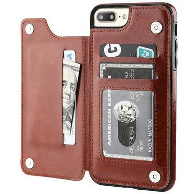 Luxury Slim Fit Premium Leather Cover For iPhone's VSthingymajig for iPhone 5s SE Brown