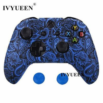 Silicone Protective Skin Case for XBox One, X & S Controller VSthingymajig Blue Leaf
