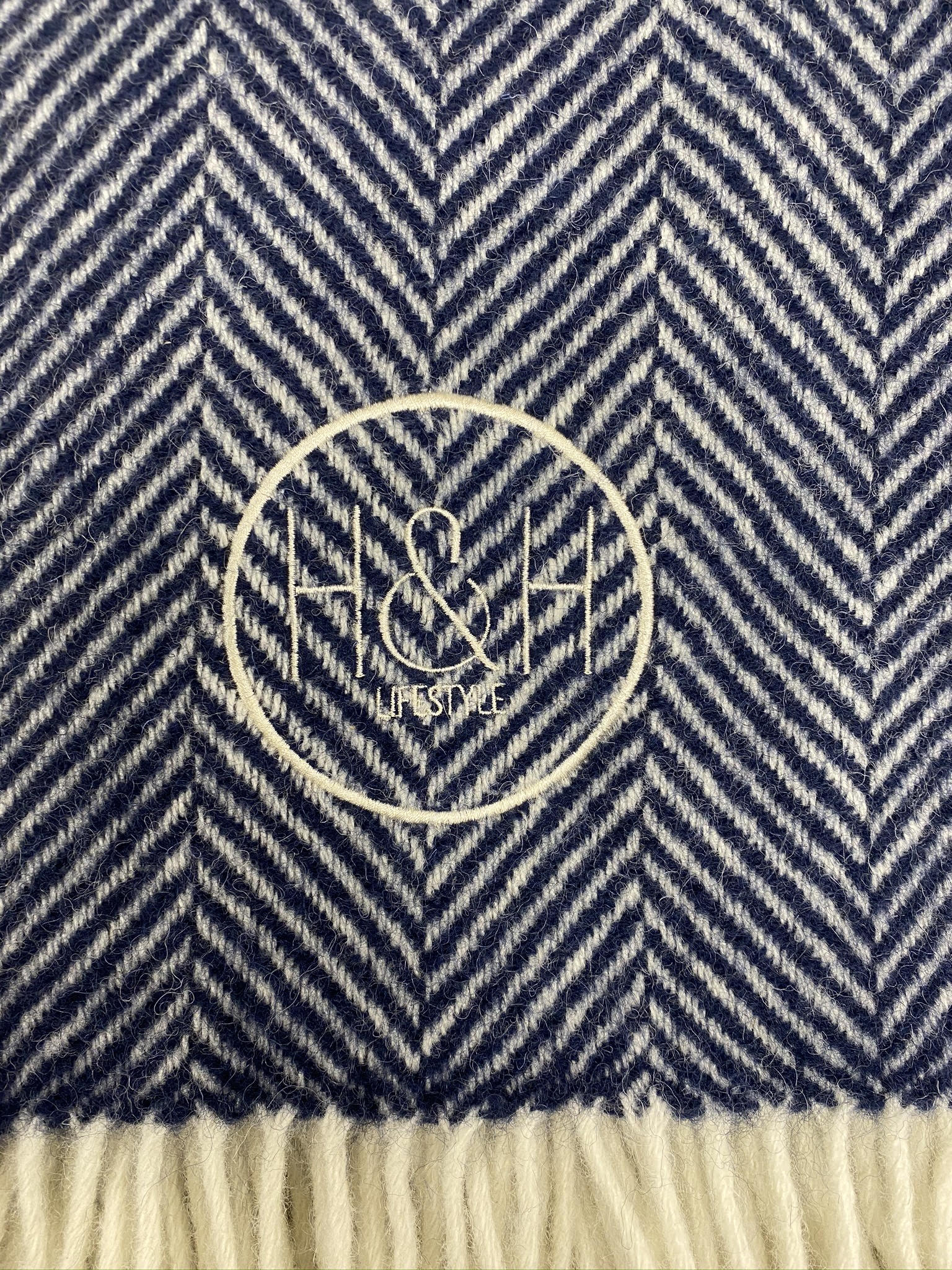 The Chelsea- Navy Blue Herringbone Wool Blanket