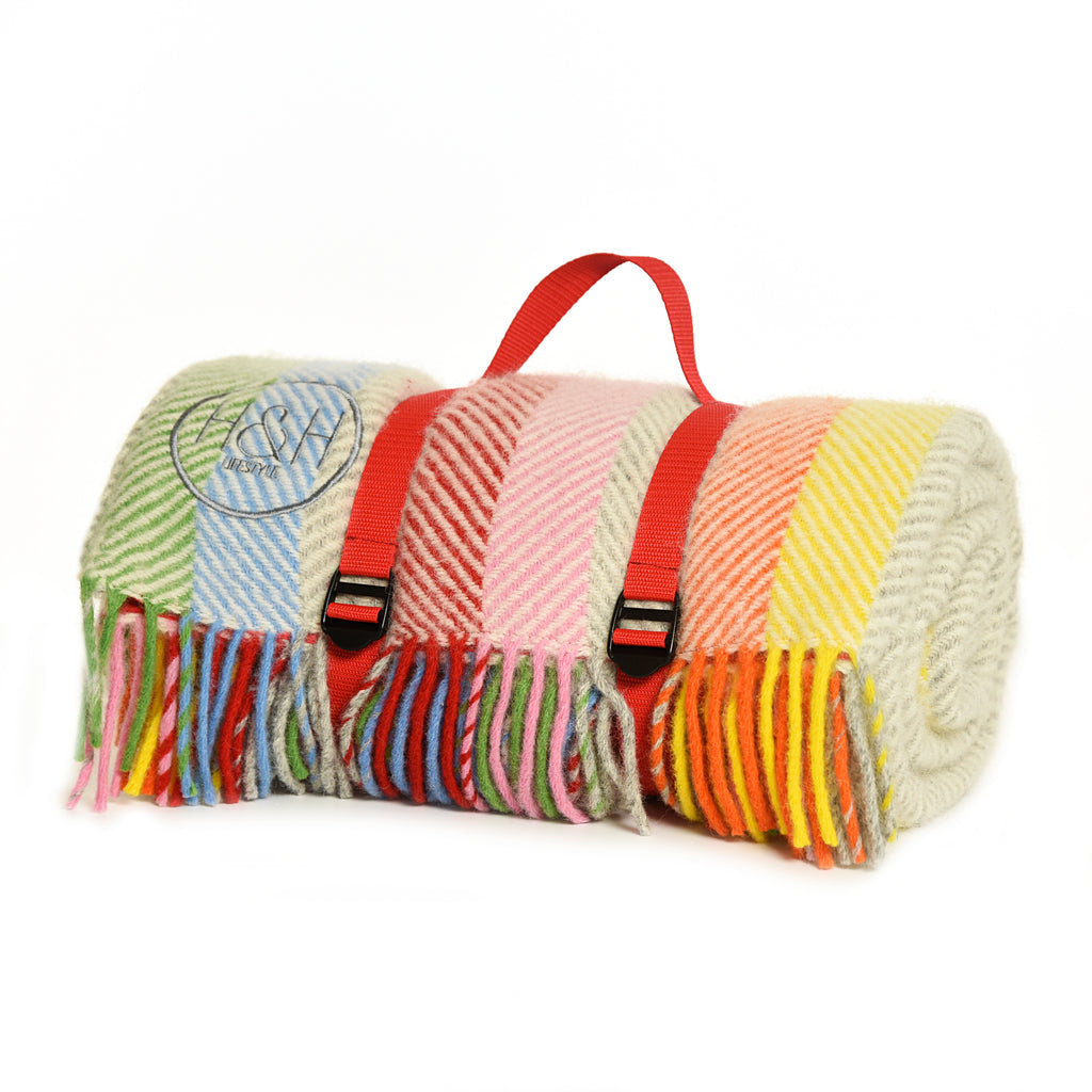 The Hoole - Rainbow Striped Wool Picnic Blanket