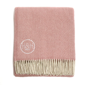 The Chester - Light Pink Herringbone Wool Blanket