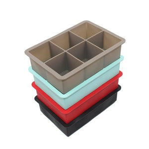 Food Grade 16.5*11.5*5 cm Square Shape Ice Cube Mold Fruit Ice Cube Maker 6 Lattice Ice Tray Bar Kitchen Accessories Silicone