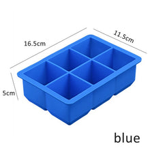 Load image into Gallery viewer, Food Grade 16.5*11.5*5 cm Square Shape Ice Cube Mold Fruit Ice Cube Maker 6 Lattice Ice Tray Bar Kitchen Accessories Silicone