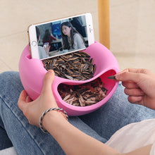 Load image into Gallery viewer, Lazy Snack Bowl Plastic Double-Layer Snack Storage Box Bowl Fruit Bowl And Mobile Phone Bracket