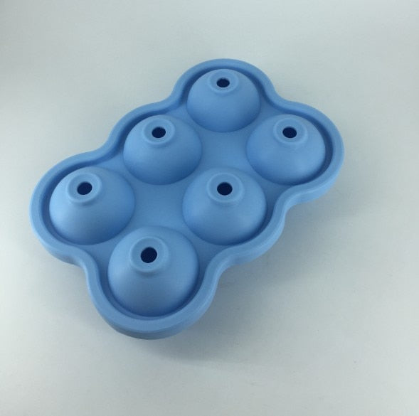 5 Colors 6 Holes 4.5cm Diameter Food Grade Soft Silicone Eco-Friendly Useful Homemade Ice Cube Tray Ball Maker Mold