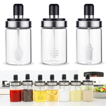 Load image into Gallery viewer, Stainless Steel Glass Seasoning Bottle Salt Storage Box Spice Jar with Spoon Kitchen Supplies For Salt Sugar Pepper Powder