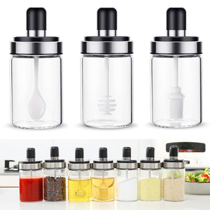 Stainless Steel Glass Seasoning Bottle Salt Storage Box Spice Jar with Spoon Kitchen Supplies For Salt Sugar Pepper Powder