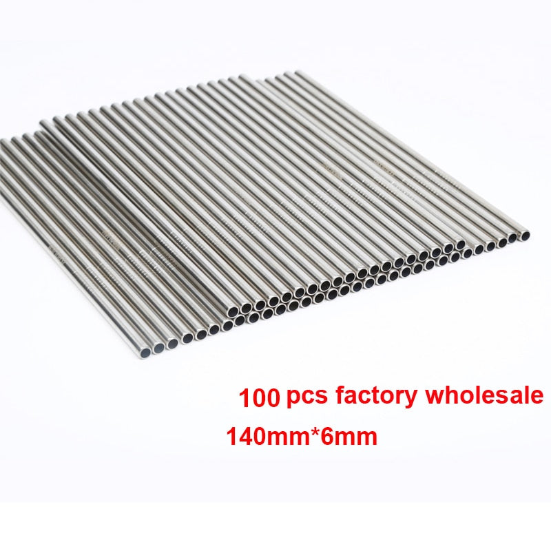 100pcs/lot Metal Straw Reusable E-co Friendly Stainless Steel Drinking Tubules 140mm*6mm Straight Bent Straws For Drink