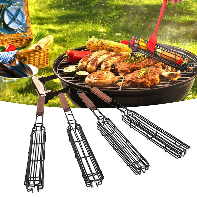 Barbecue Utensils Outdoor Portable BBQ Grilling Basket Stainless Steel Nonstick Barbecue Grill Tools Grill Mesh For BBQ Baskets