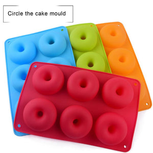 6 Non-Slip Doughnut Silicone Mold DIY Round Cake Circle Biscuit Muffin Mold Donut Candy Chocolate Ice Cube Molds Kitchen Tool