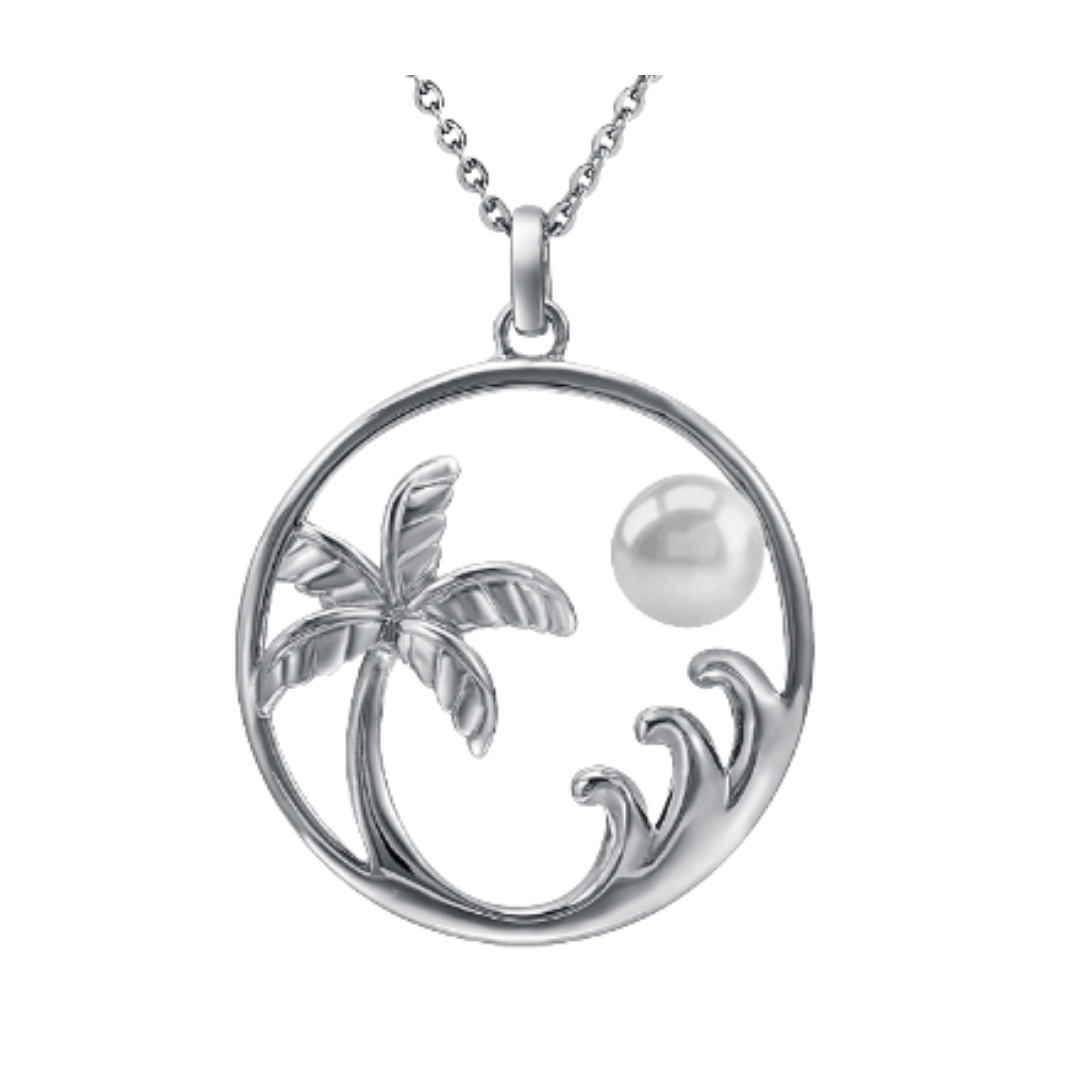 Palm Tree Wave Pendant Necklace