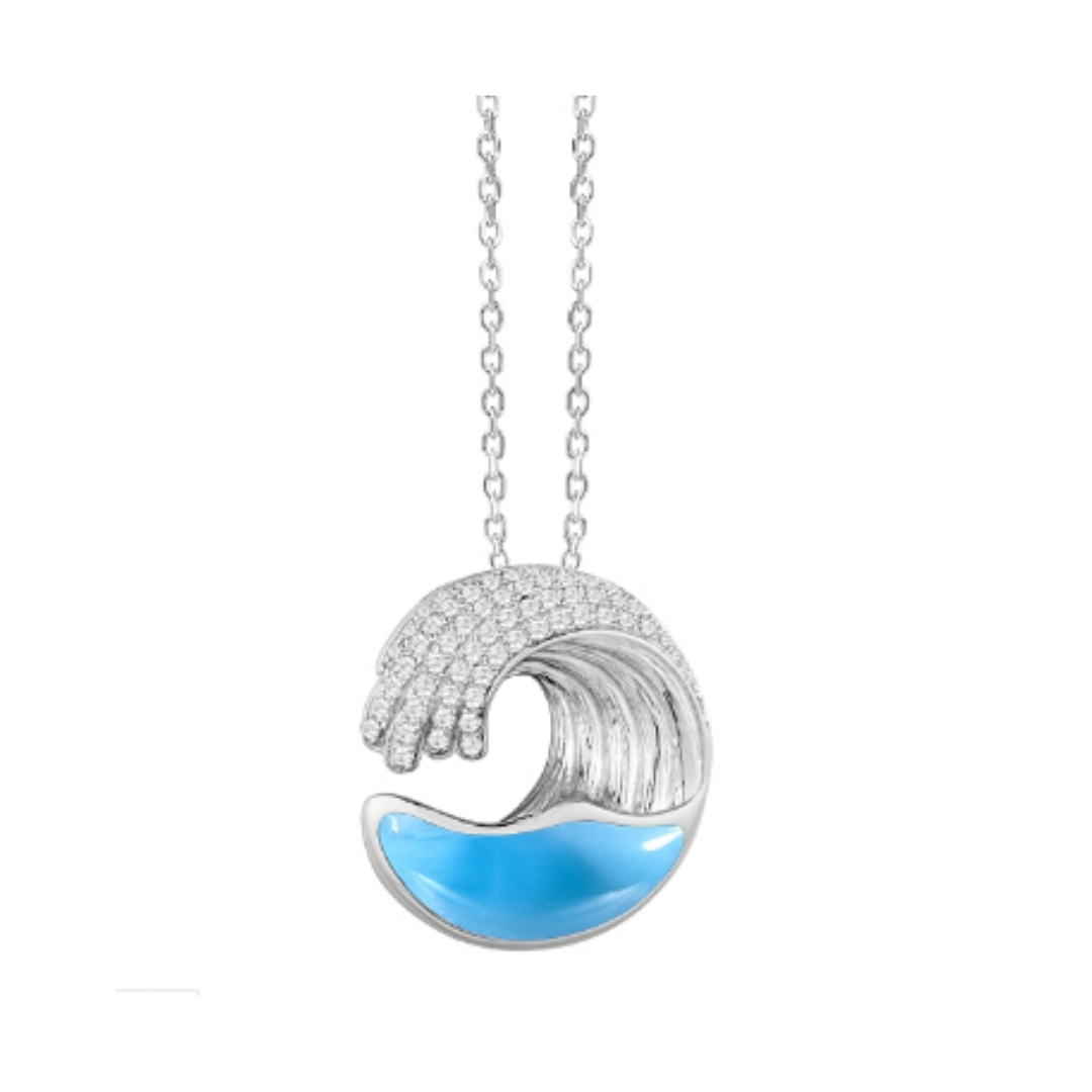 Wave Larimar Small Pendant Necklace