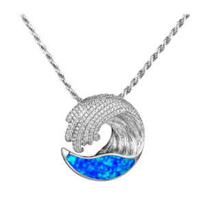 Wave Opal Small Pendant Necklace