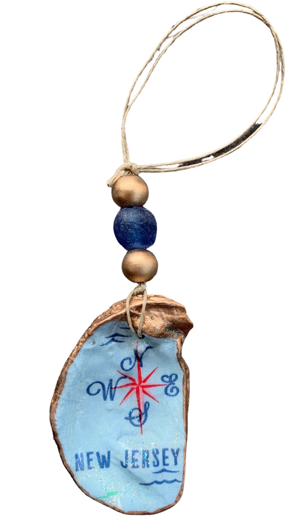 Compass Oyster Shell Ornament