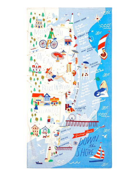 Down The Shore Beach Towel