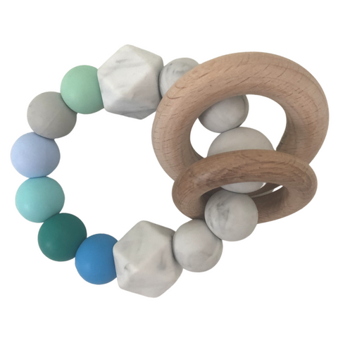 Green Silicone & Wood Teether