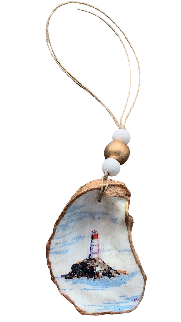 Lighthouse Oyster Shell Ornament