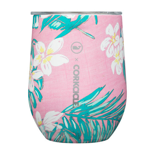 Pink Tropical Flowers Stemless Cup