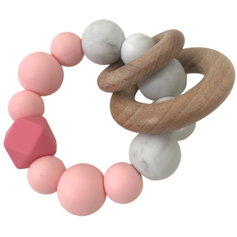 Pink Silicone & Wood Teether