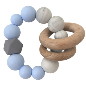 Blue Silicone & Wood Teether