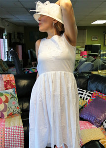 Lauren Bacall inspired white lace summer dress