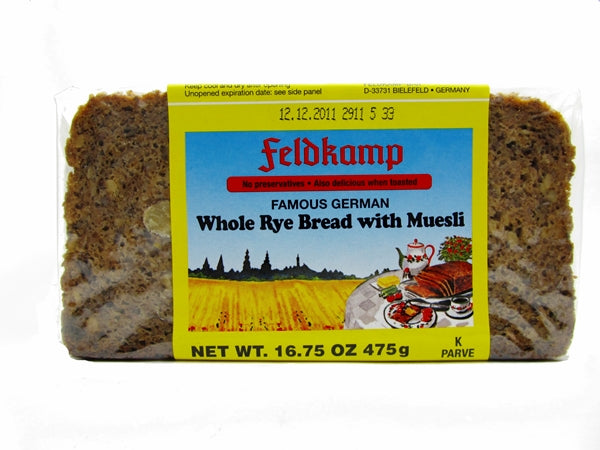 Feldkamp Whole Rye bread with Muesli, 17.6 oz.