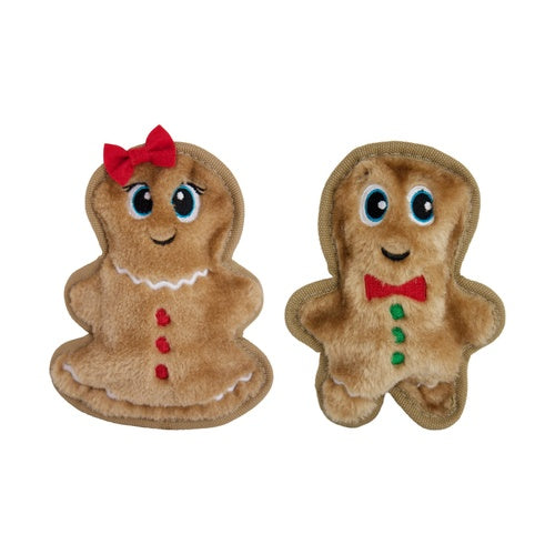OUTWARD HOUND - Invincibles Christmas Gingerbread Boy & Girl Dog Toys - Pack of 2
