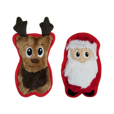 OUTWARD HOUND - Invincibles Christmas Santa & Reindeer Dog Toys - Pack of 2
