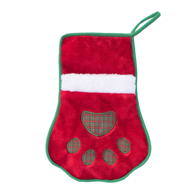 ZIPPY PAWS - Plush Christmas Holiday Stocking - Red Paw