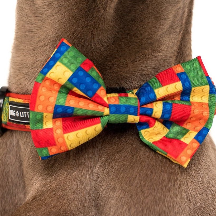Fetch Connection - Big & Little Dogs Blocktastic Dog Collar & Bow Tie