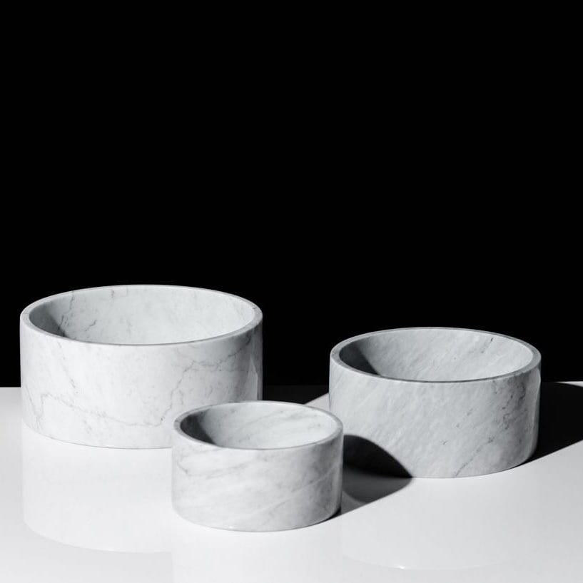 HOUNDZTOOTH - Carrara Marble Dog Bowl - White