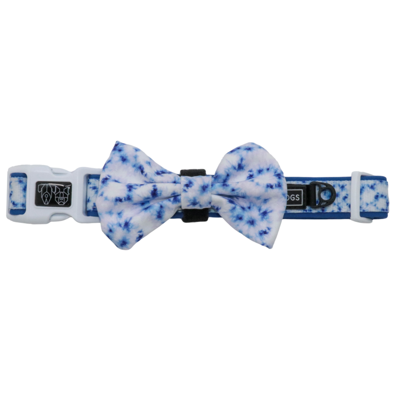 [LAST CHANCE] BIG & LITTLE DOGS - Tie Dye Blue Dog Collar & Bow Tie