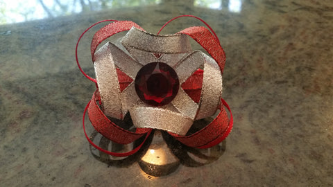 Silver and Red Loopy Bow