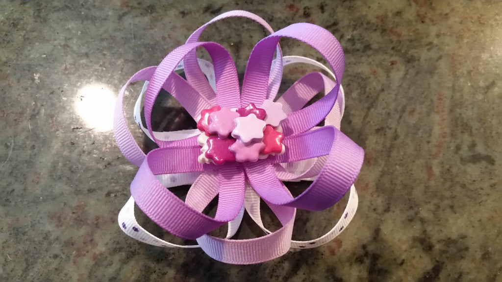 Purple Stars Loopy Bow