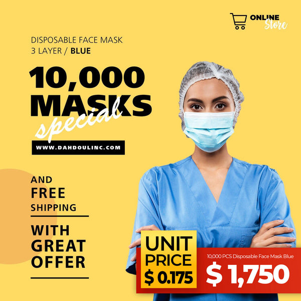 10,000 PCS Disposable Face Mask Blue