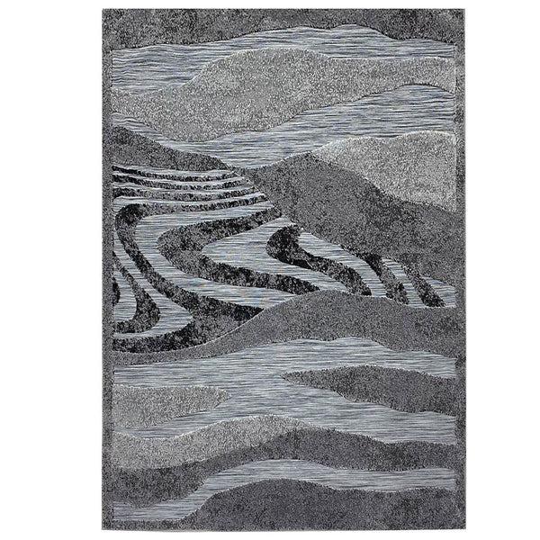 "3 Dimensional Frieze Sisal ""Vegas Collection"" Area Rug 1010 Black Grey"
