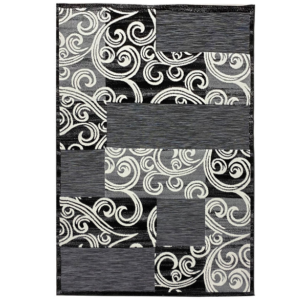 "3 Dimensional Frieze Sisal ""Vegas Collection"" Area Rug 1013 Black Grey"