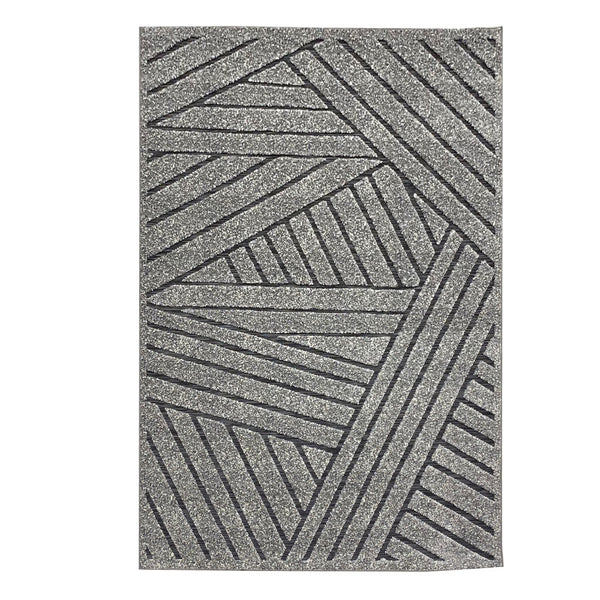 "3 Dimensional Frieze Sisal ""Vegas Collection"" Area Rug 1014 Black Grey"