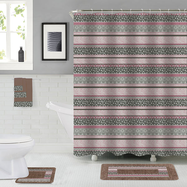 18PC Printed Bath Set CF-18 Taupe With Bath Mat, Shower Curtain, 3PC Towel Set, Contour Mat and 12PC Hooks