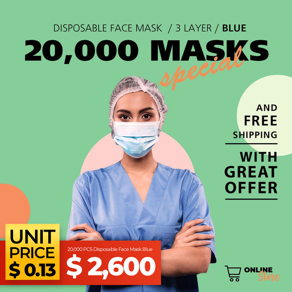 20,000 PCS Disposable Face Mask Blue