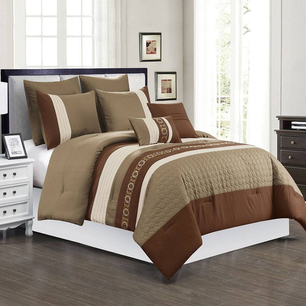 Prestige 7PC Comforter Set-21616 Taupe with Comforter, Pillow Sham, Euro Sham, Square Pillow