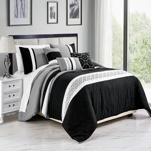 6PC Aura Comforter Set Aura-Grey/Black King Size, Comforter, Pillow Shams, Breakfast Pillow and Cushions